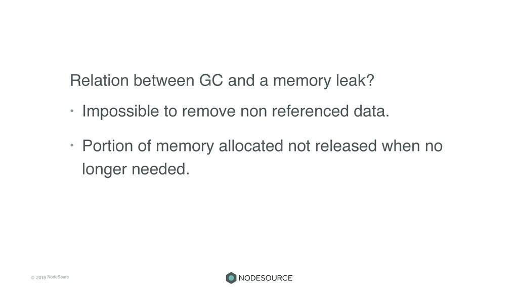 © 2019 NodeSourc e Relation between GC and a me...