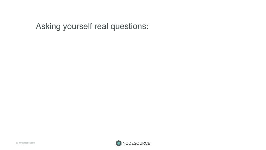 © 2019 NodeSourc e Asking yourself real questio...