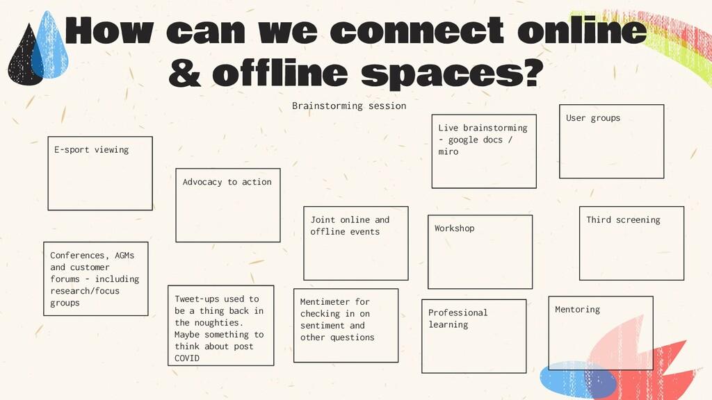 How can we connect online & offline spaces? Twe...