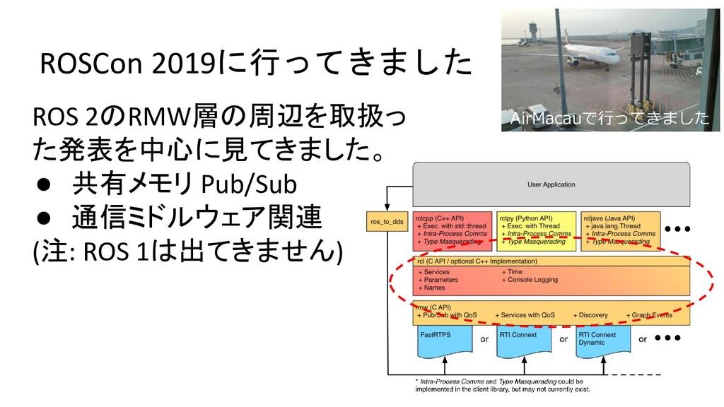 ROSCon 2019に行ってきました ROS 2のRMW層の周辺を取扱っ た発表を中心に見て...