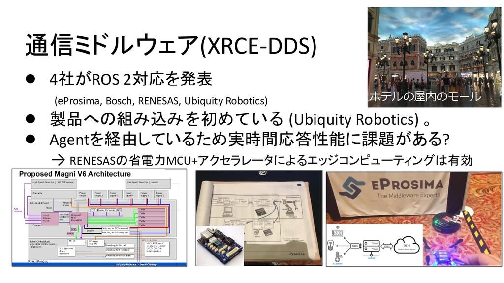 通信ミドルウェア(XRCE-DDS) ● 4社がROS 2対応を発表 (eProsima, B...
