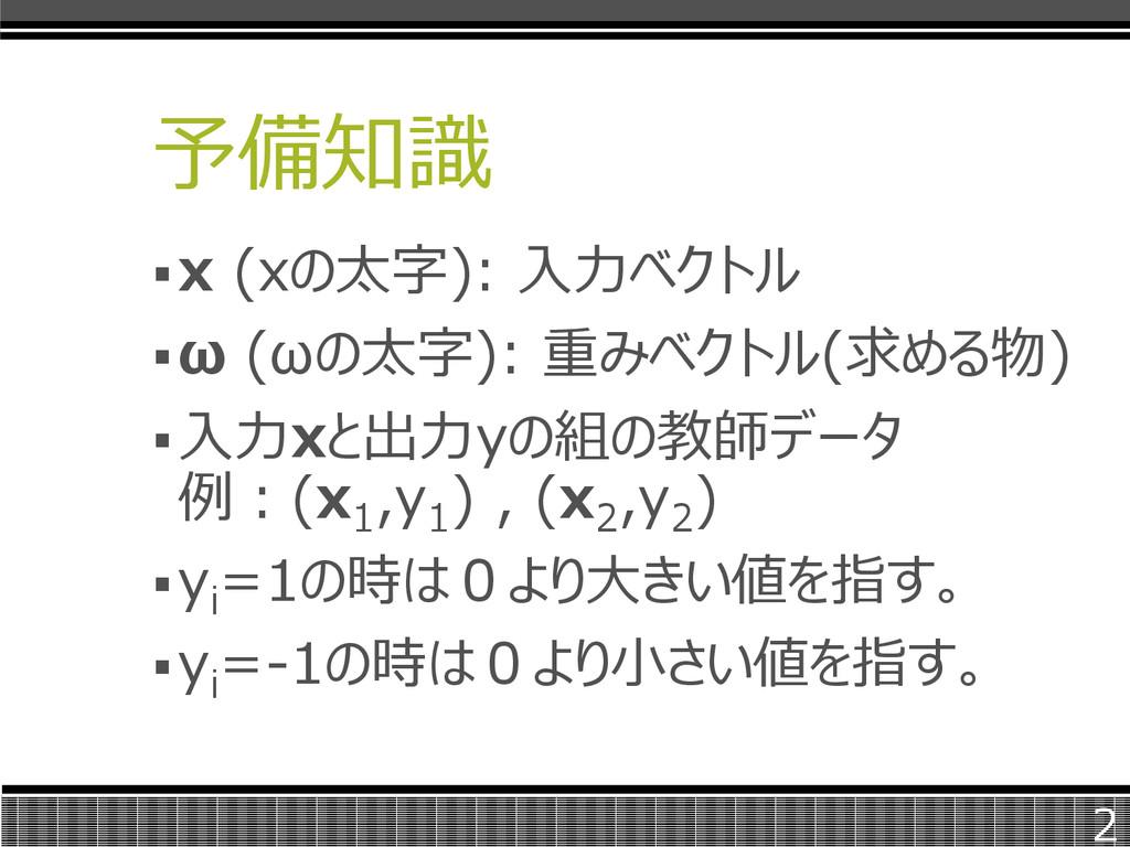 予備知識 x (xの太字): 入力ベクトル ω (ωの太字): 重みベクトル(求める物) ...
