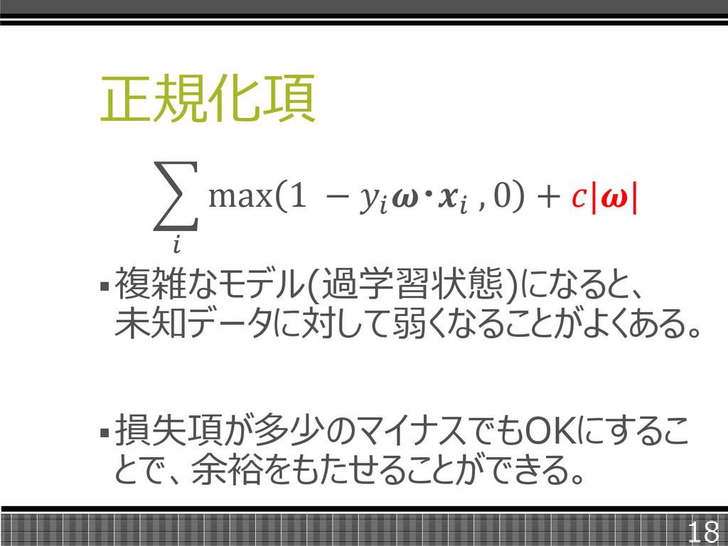 正規化項  max 1 −  ・ , 0 +    複雑なモデル(過学習状態)になると、 未...