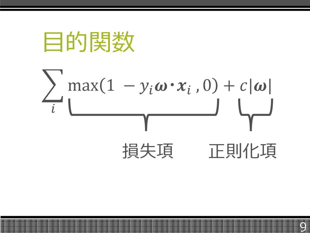 目的関数  max 1 −  ・ , 0 +    損失項 正則化項 9