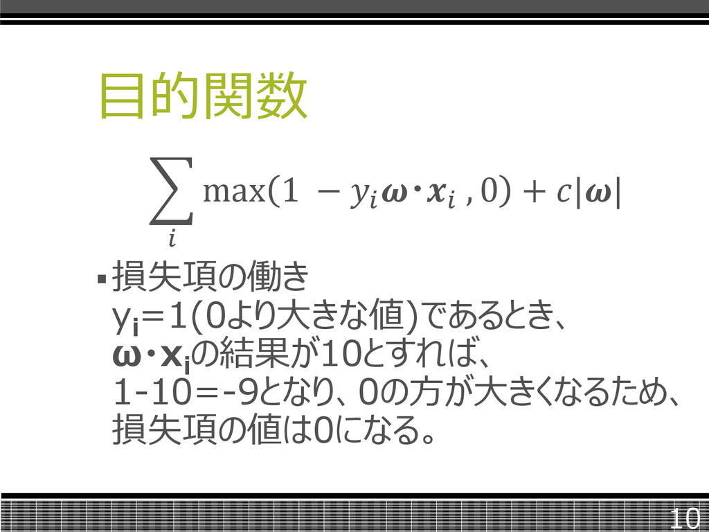 目的関数  max 1 −  ・ , 0 +    損失項の働き y i =1(0より大きな...