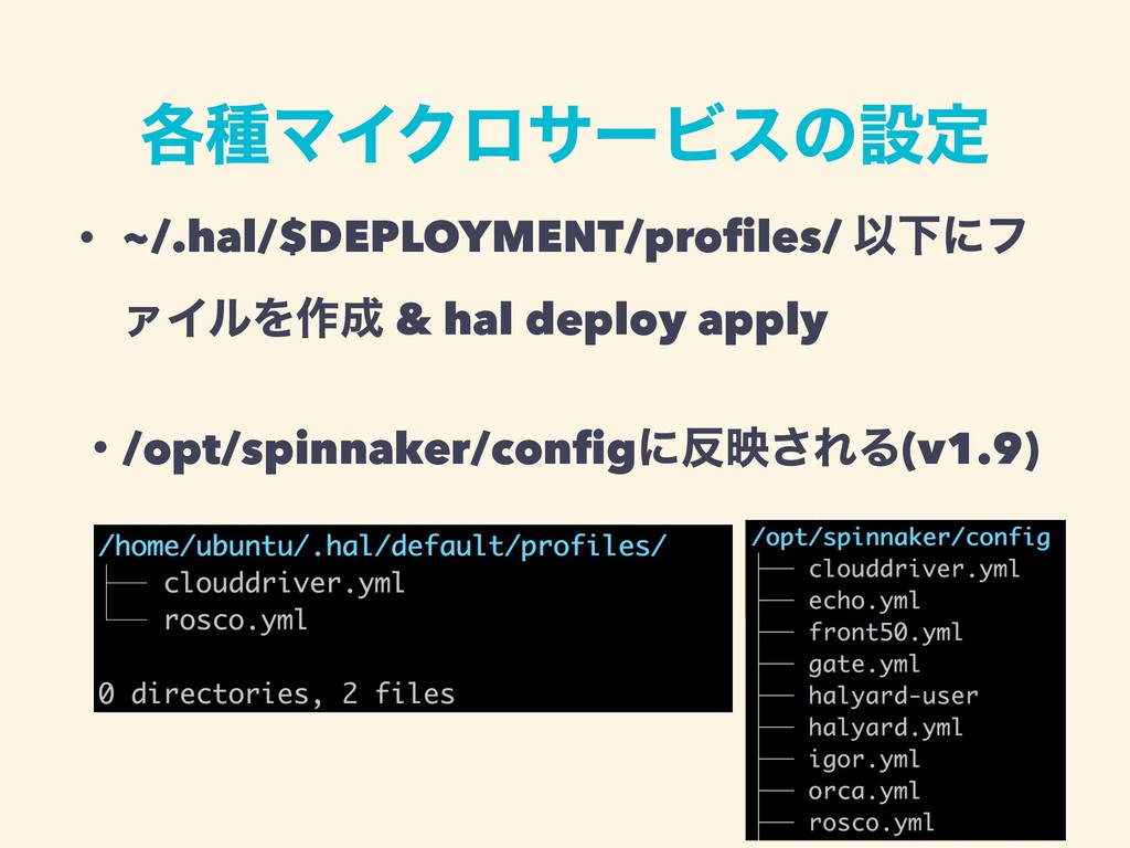֤छϚΠΫϩαʔϏεͷઃఆ • ~/.hal/$DEPLOYMENT/profiles/ ҎԼʹ...