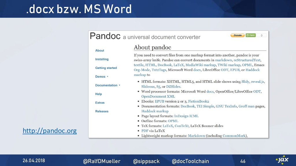 .docx bzw. MS Word http://pandoc.org 26.04.2018...