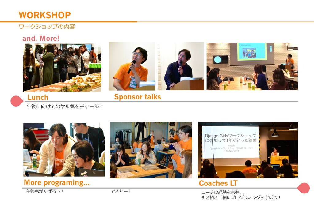 WORKSHOP and, More! Lunch Sponsor talks Coaches...