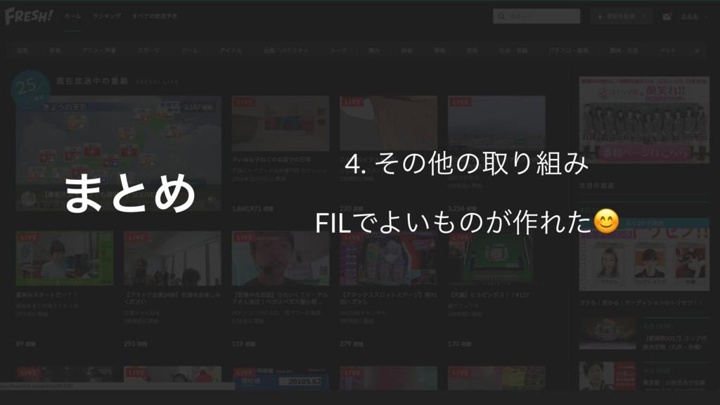 4. ͦͷଞͷऔΓΈ FILͰΑ͍ͷ͕࡞Εͨ ·ͱΊ