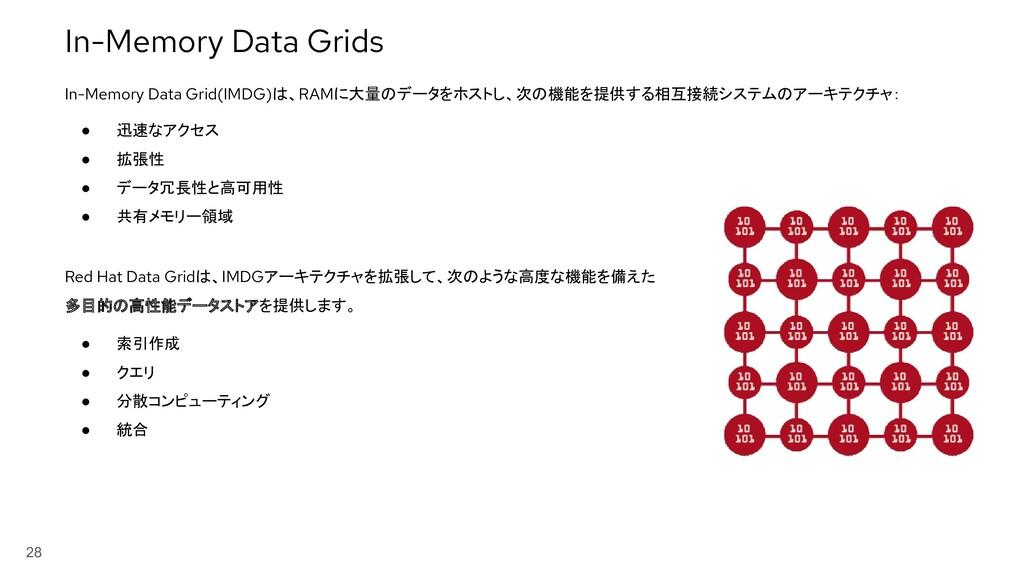 28 ● 迅速なアクセス ● 拡張性 ● データ冗長性と高可用性 ● 共有メモリー領域 In-...