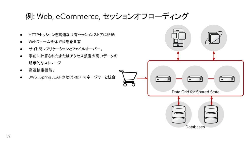 39 例: Web, eCommerce, セッションオフローディング ● HTTPセッション...