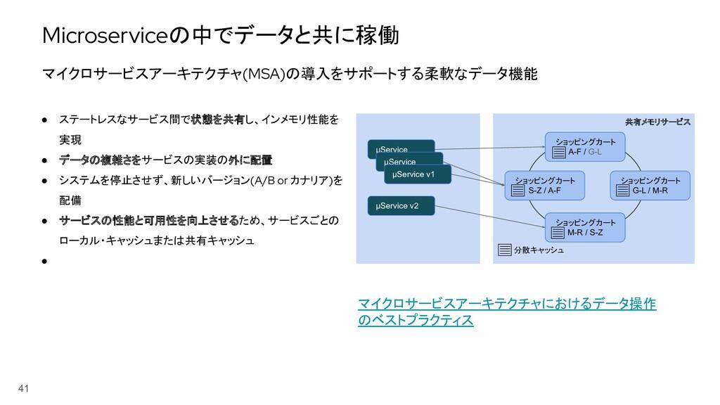 41 ● ステートレスなサービス間で状態を共有し、インメモリ性能を 実現 ● データの複雑さを...