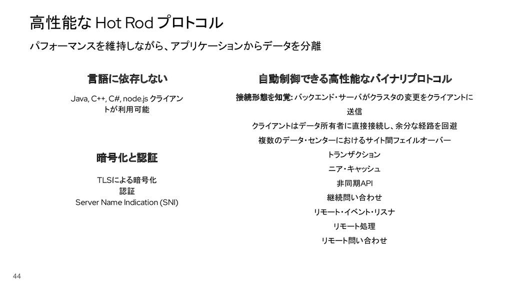 高性能な Hot Rod プロトコル 44 言語に依存しない 自動制御できる高性能なバイナリプ...
