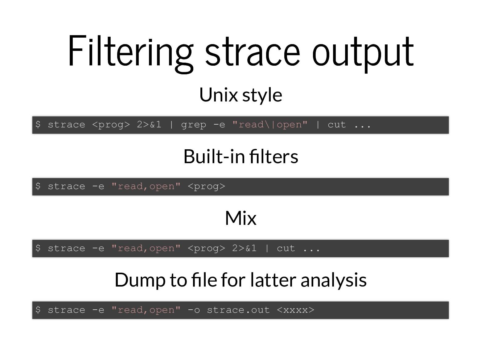 Filtering strace output Filtering strace output...