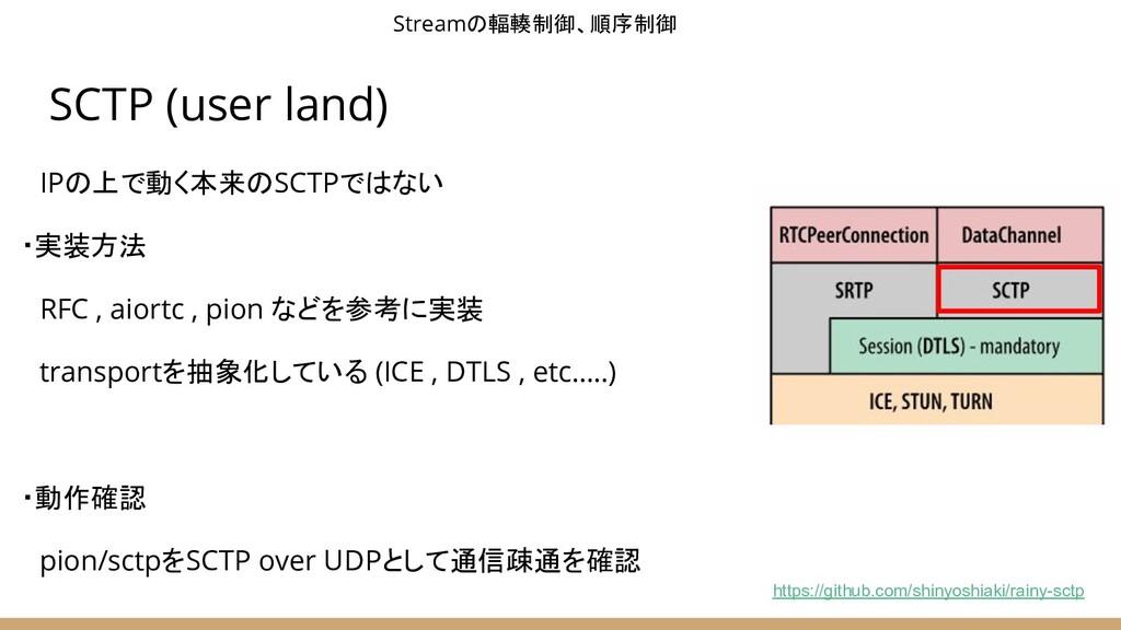 SCTP (user land)  IPの上で動く本来のSCTPではない ・実装方法  RFC...