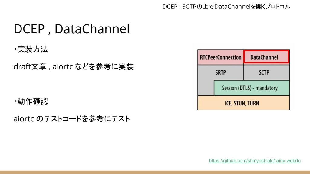 DCEP , DataChannel ・実装方法 draft文章 , aiortc などを参考...