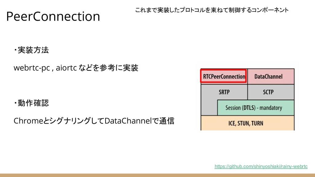 PeerConnection ・実装方法 webrtc-pc , aiortc などを参考に実...