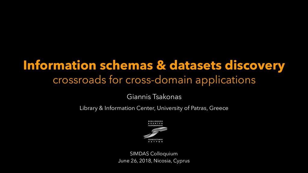Information schemas & datasets discovery crossr...