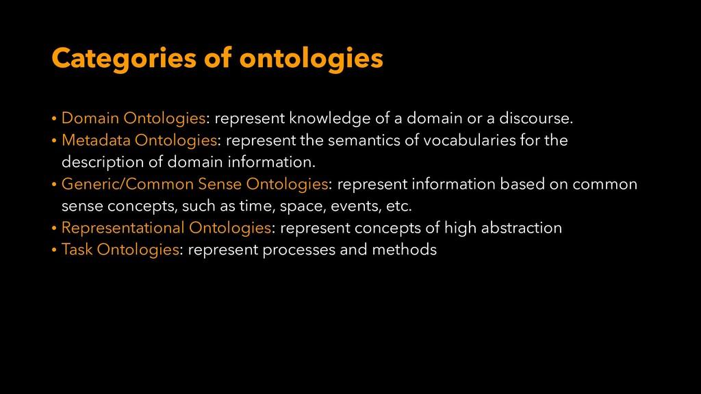 Categories of ontologies • Domain Ontologies: r...