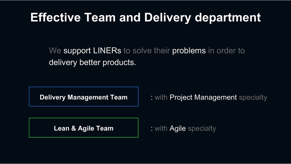 Effective Team and Delivery department Delivery...