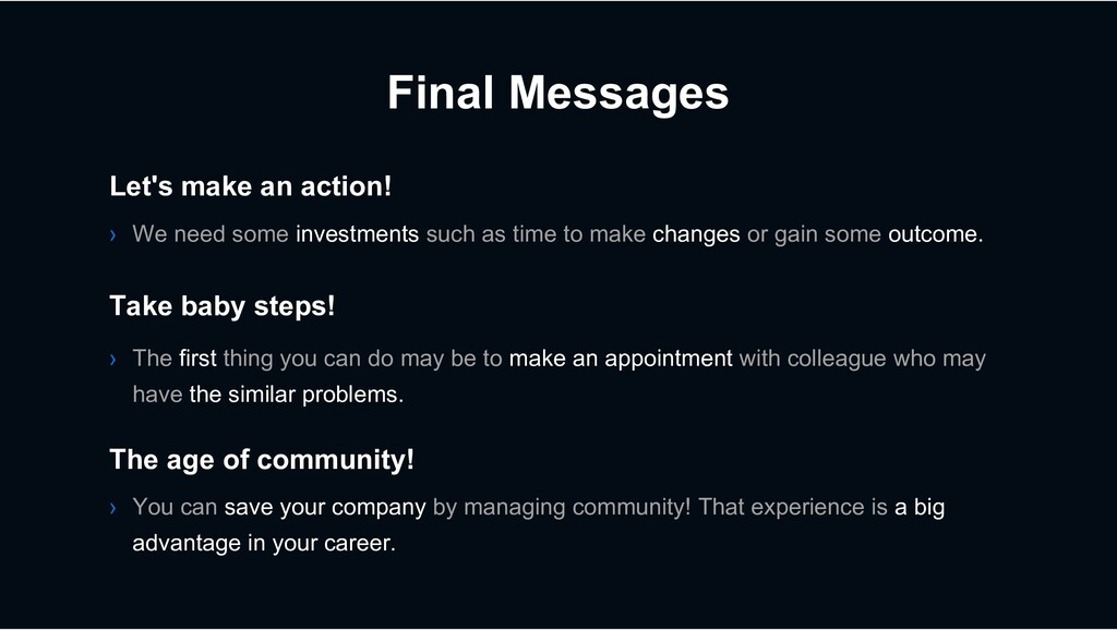 Final Messages › We need some investments such ...