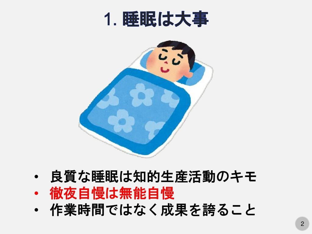 2 2 • 良質な睡眠は知的生産活動のキモ • 徹夜自慢は無能自慢 • 作業時間ではなく成果を...