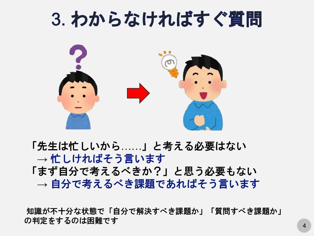 4 4 「先生は忙しいから……」と考える必要はない → 忙しければそう言います 「まず自分で考...