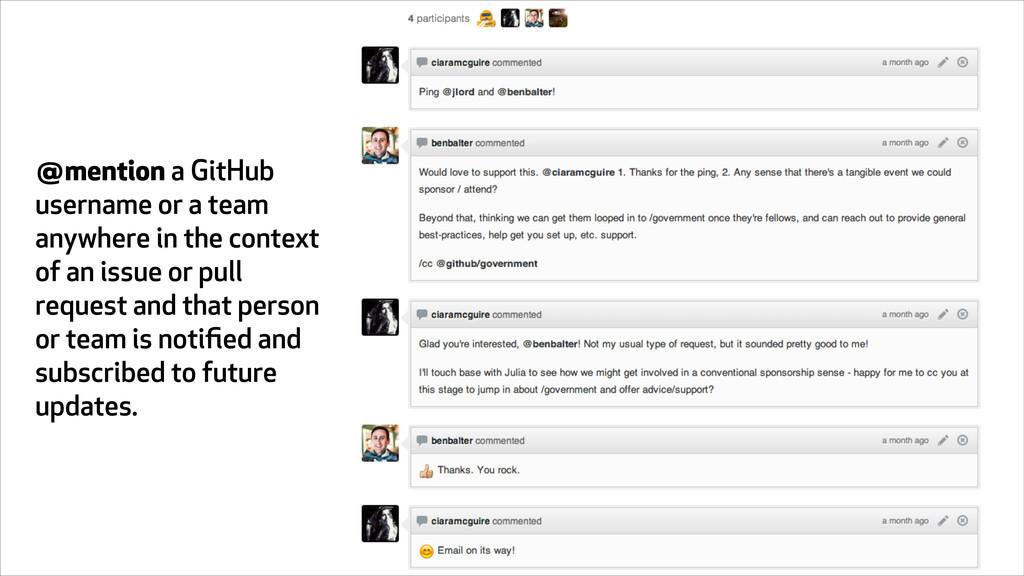 @mention a GitHub username or a team anywhere i...