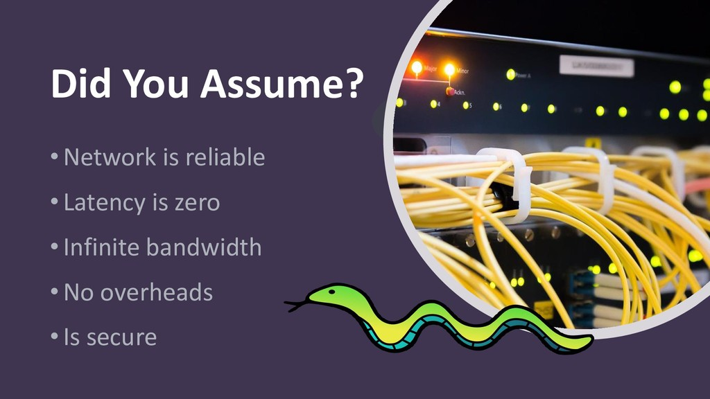 Did You Assume? •Network is reliable •Latency i...