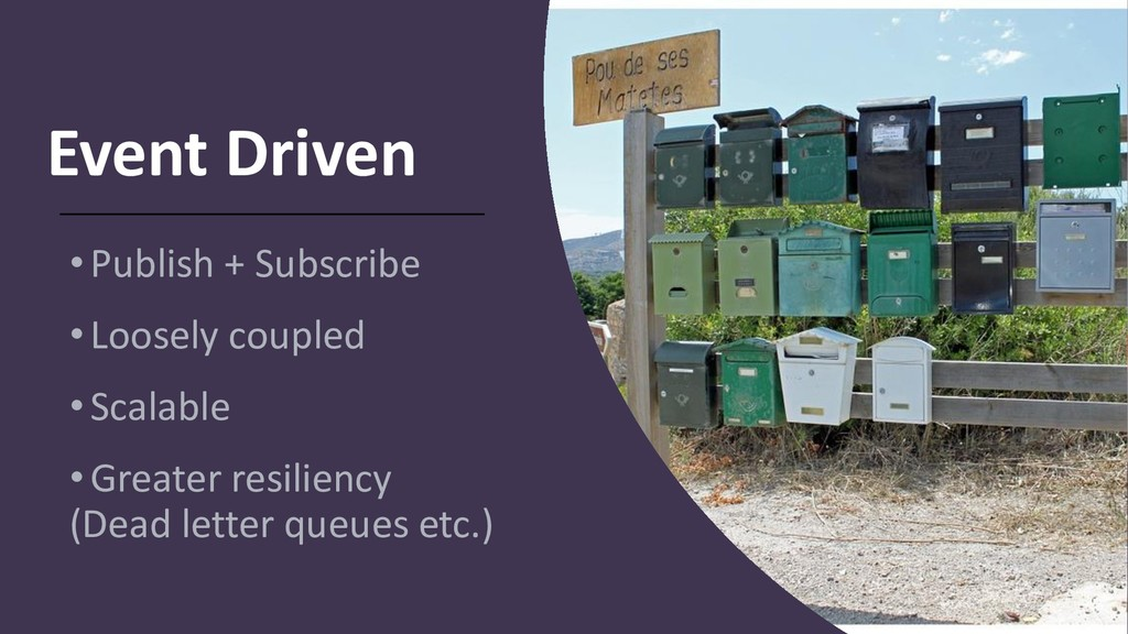 Event Driven •Publish + Subscribe •Loosely coup...