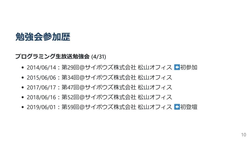 勉強会参加歴 プログラミング⽣放送勉強会 (4/31) 2014/06/14︓第29回@サイボ...