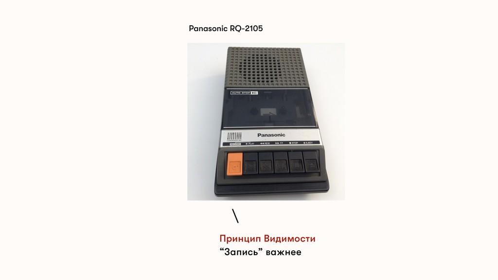 """Panasonic RQ-2105 Принцип Видимости """"Запись"""" ва..."""