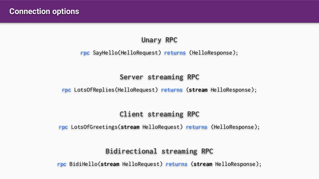 Connection options Unary RPC rpc SayHello(Hello...