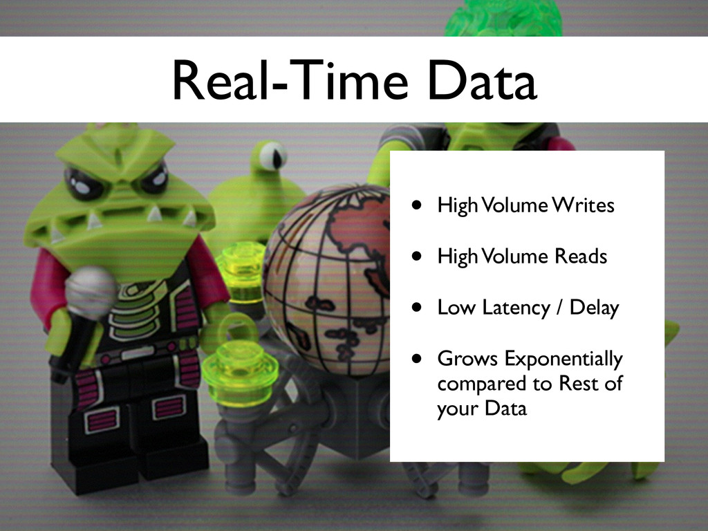 Real-Time Data • High Volume Writes	 