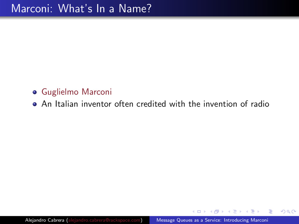 Marconi: What's In a Name? Guglielmo Marconi An...