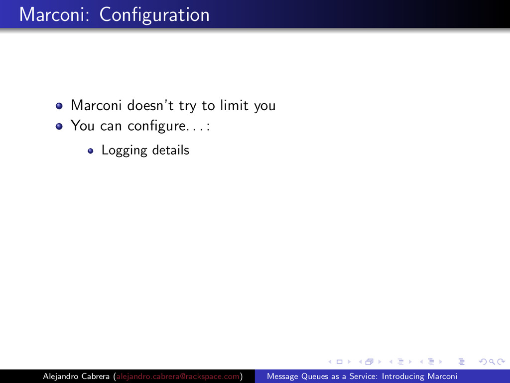 Marconi: Configuration Marconi doesn't try to li...