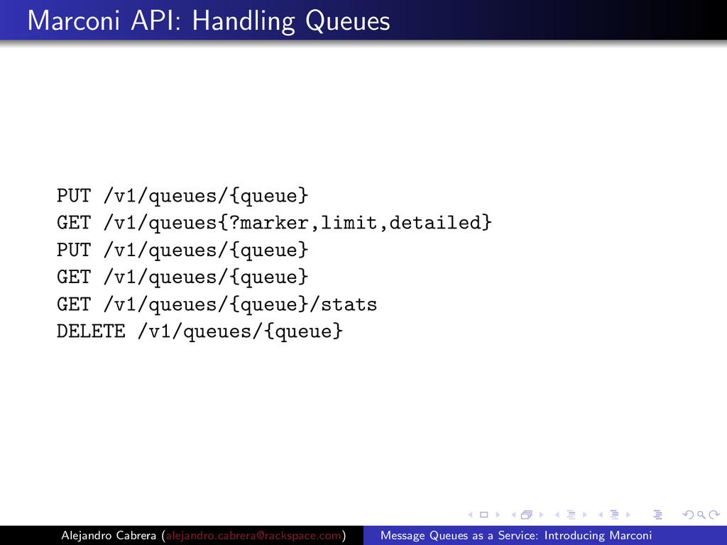Marconi API: Handling Queues PUT /v1/queues/{qu...