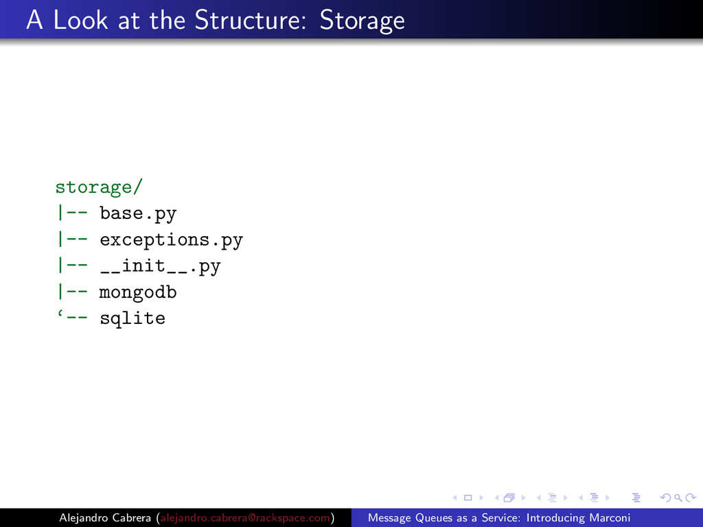 A Look at the Structure: Storage storage/ |-- b...