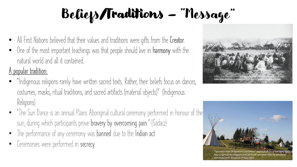 """Beliefs/Traditions – """"Message"""" • All First Nati..."""