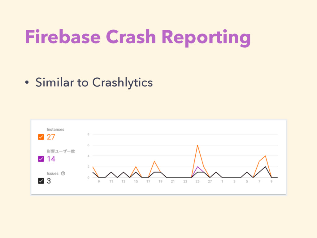 Firebase Crash Reporting • Similar to Crashlyti...