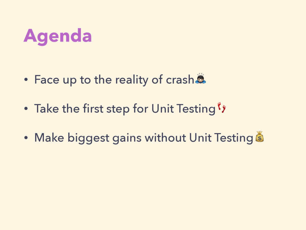 Agenda • Face up to the reality of crash! • Tak...