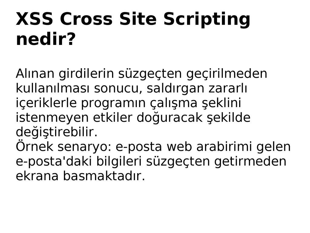 XSS Cross Site Scripting nedir? Alınan girdiler...