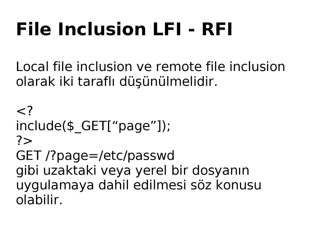 File Inclusion LFI - RFI Local file inclusion v...