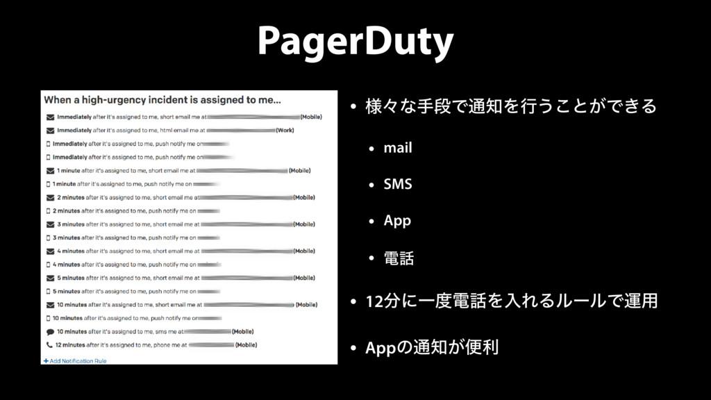 PagerDuty • ༷ʑͳखஈͰ௨Λߦ͏͜ͱ͕Ͱ͖Δ • mail • SMS • Ap...