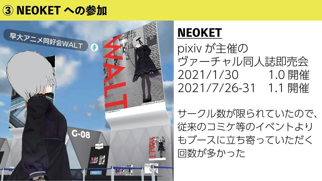 ③ NEOKET への参加 NEOKET pixiv が主催の ヴァーチャル同人誌即売会 20...