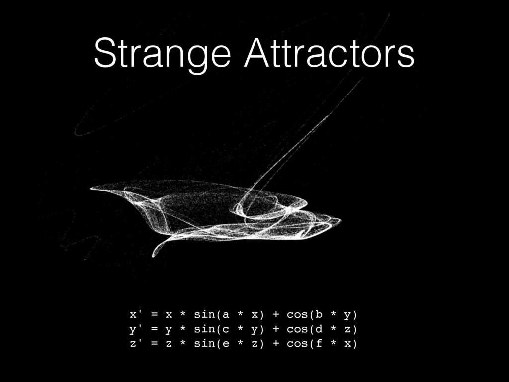 Strange Attractors x' = x * sin(a * x) + cos(b ...