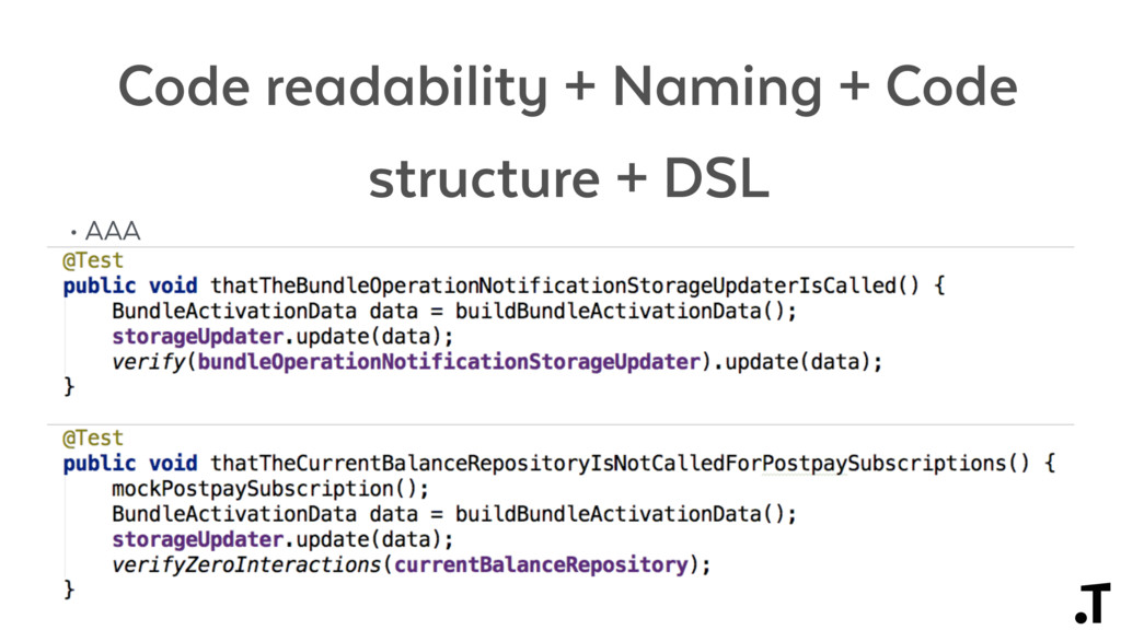 Code readability + Naming + Code structure + DS...