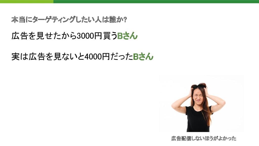 本当にターゲティングしたい人 誰か? 広告を見せたから3000円買うBさん 実 広告を見な...