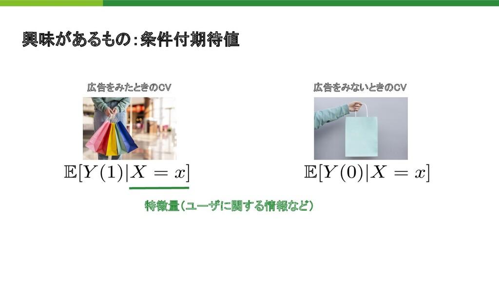 興味があるも :条件付期待値 広告をみないとき C  広告をみたとき C  特徴量(ユー...