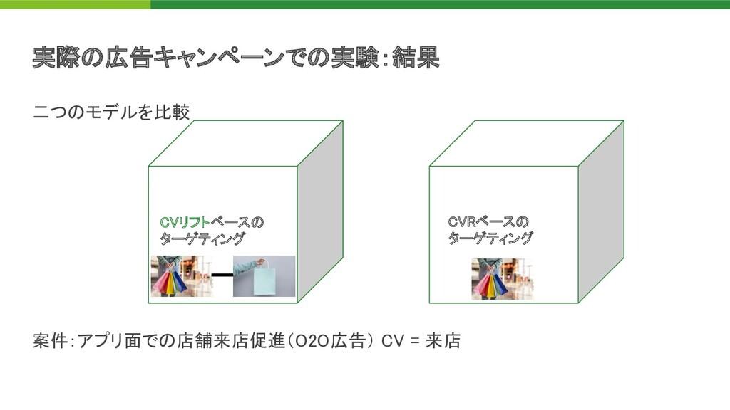 二つ モデルを比較       案件:アプリ面で 店舗来店促進(O2O広告) C...